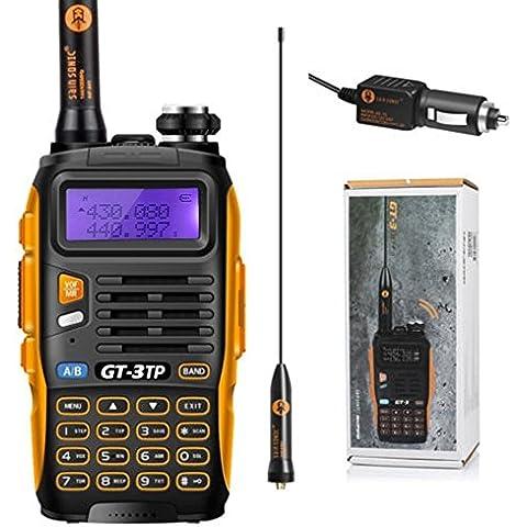 2015 Baofeng GT-3 TP Mark III 136-174 / 400-520MHz 1/4 Tri-Power / 8W walkie talkie Rango más eficiente para hablar con 8W de potencia de salida + cargador de coche + Adaptador de antena + cargador de sobremesa + Li-ion batería,