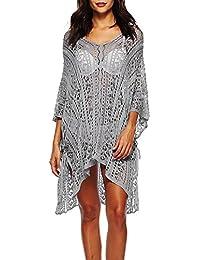 7d05ad86085 Kingko_® Women's Bathing Suit Sleeve Cover Up Net Cool Fabric Beach Bikini Swimsuit  Swimwear Crochet