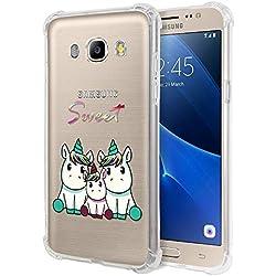 """Zhuofan Plus Coque Samsung Galaxy J7 2016, Silicone Transparente avec Motif Design Antichoc Coussin d'air Housse TPU Souple Airbag Shockproof Case Cover pour Samsung J7 2016 5,5"""", Licorne 3"""