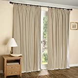 "Deco Window 1 Piece Pleated Door Curtain With White Lining 52""X90""-Beige"