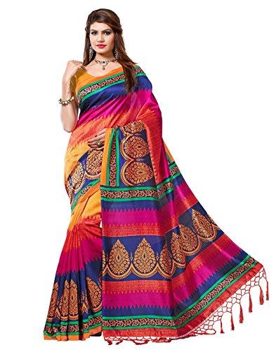 e-VASTRAM Womens Mysore Silk Printed Saree With Tassel/Kutch (NSTASSELMULTI_Multi)
