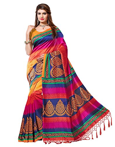 e-VASTRAM Women's Mysore Art Silk Saree with Blouse Piece(NSTASSELMULTI_Multi)