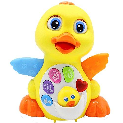 nate+Reizende Tanzen gelbe Ente früher EQ Entwirklung,Musik und Lernen,gehend,singend,blinkend LED-Lichter,neue Geschenk-Spielwaren für Kleinkind-Jungen u.Mädchen (Knopffarben können abweichen) (Neue Jahre Versorgt)