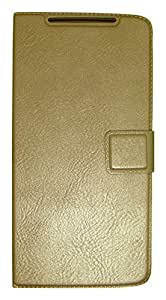 Zocardo Faux Leather Flip Case Flip Diary Cover For Lenovo A6010 -Gold With Stand Magnetic Lock
