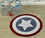Zala Living 102305 Kinderteppich rund für Kinderzimmer, Polyamid, blau/rot, 100 x 100 x 0,7 cm