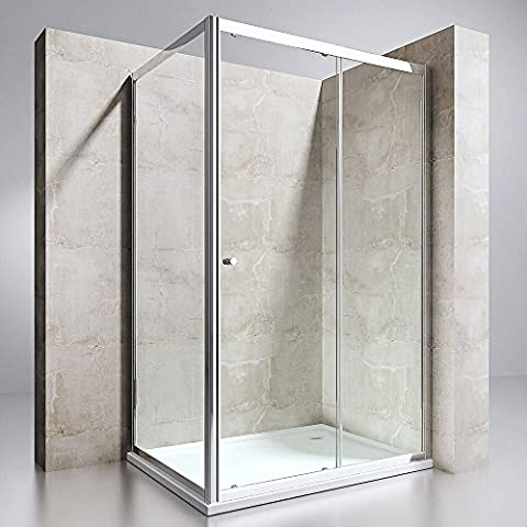 Durovin Bathrooms High Quality Modern Elegant German Engineered NANO Technology Shower Enclosure Hinged Glass Door Left Or Right Hand Entry With Tray (800mm x 1100mm Stone Shower Tray, Door & Side Glass: 1100mm x