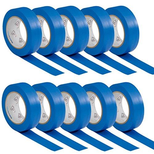 AUPROTEC 10 Rollen VDE Isolierband Isoband Elektriker Klebeband PVC 15mm x 10m DIN EN 60454-3-1 Farbe: blau