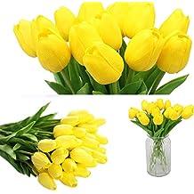 20pcs real-touch Artificial Tulip flores, tulipanes de PU artificial flores boda ramilletes de boda casa jardín decoración, plástico, Amarillo, 36.5 x 13 x 9 cm