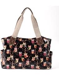 Anladia Sac a Main Epaule Style Cabas Fourre-tout en Toile Floral Dessin Anime Hibou Noir