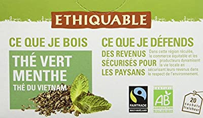 Ethiquable Thé Vert Menthe Vietnam Bio et Équitable 20 Sachets Max Havelaar - Lot de 4
