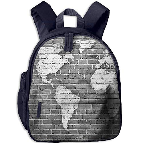 Lovely Schoolbag World Map on Old Brick Wall Double Zipper Waterproof Children Schoolbag Backpacks with Front Pockets for Teens Boys Girl