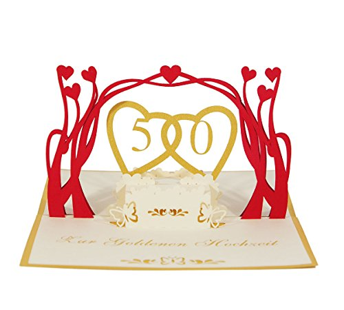 "3D KARTE \""Goldene Hochzeit\"" I Pop-Up Glückwunschkarte zum 50. Hochzeitsjubiläum"