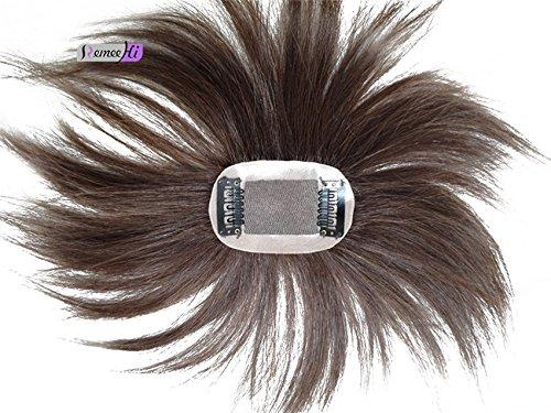 Remeehi Mono Haarteil / Toupet mit Clip für oben, von Hand gebunden, Echthaar, für Haarausfall oder dünnes Haar - Toupet Perücke Clip