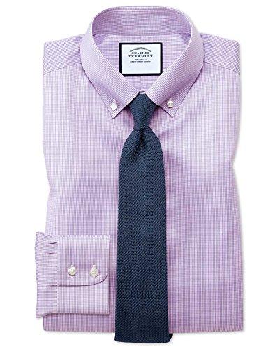 Bügelfreies Classic Fit Twill-Hemd mit Button-down Kragen in Flieder mit Hahnentritt Knopfmanschette (Hahnentritt-kragen)
