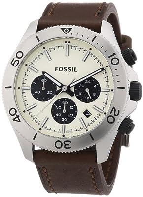 Fossil CH2886 - Reloj cronógrafo de cuarzo para hombre, correa de cuero color marrón (cronómetro)