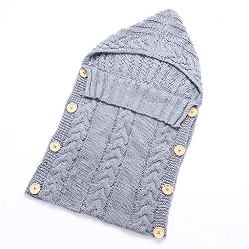 17years Neugeborene Baby Infant Knit Crochet Pucksack Einschlagdecke Schlafsack, grau, Einheitsgröße
