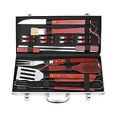 Idea Regalo - FIXKIT Set Completo Barbecue x18 Pezzi Set Attrezzi BBQ in Acciaio Inox Posate con Manico di Legno Pulizia Griglia Kit Grigliatura Grill Set con Valigetta Inclusa