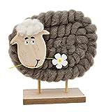 Deko Figur Schaf mit Blume aus Holz und Wolle braun weiß, 16 x 14cm, Frühlingsdeko Dekofigur Tierfigur Schäfchen Wohndeko im Landhausstil