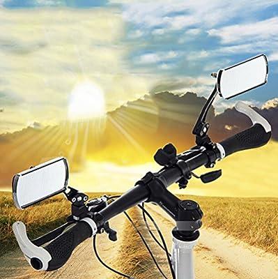 BestFire 1 Paar Verstellbare drehbare Flexibilität Fahrrad Lenker Rückspiegel Radfahren MTB Elektrische Autos Rechteck Reflektor Spiegel Rearview Weitwinkel Horizont Aluminiumlegierung für 22mm