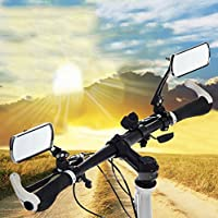 Bike Mirrors BestFire 1 Pair Adjustable Rotating Flexibility Bicycle Handlebar Rear View Mirror Cycling MTB Electric Cars Rectangle Reflector Mirror Rearview Wide Angle Horizon Aluminium Alloy for 22mm