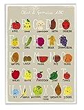 ABC Poster für Kinderzimmer Küche Kita Alphabet Poster mit Obst und Gemüse