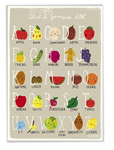 Poster mit ABC Alphabet Obst und Gemüse für Kinderzimmer und Küche