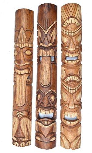 3-Tiki-Mscaras-en-el-Hawaii-Buscar-De-Madera-in-100cm-Largo-Mscara-Pared