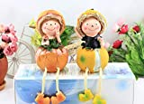 2pcs/1Set Resin car Ornaments Ornaments Painted Dolls Home partitions Decorations Orange Hanging feet