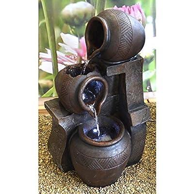 MACOShopde by MACO Möbel Brunnen/Kaskadenbrunnen mit DREI Krügen in Ton Optik und LED Beleuchtung von MACOShopde by MACO Möbel bei Du und dein Garten