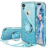 OCYCLONE Coque iPhone XR, Paillette Coque Con Diamant Strass Anneau pour Femme,...