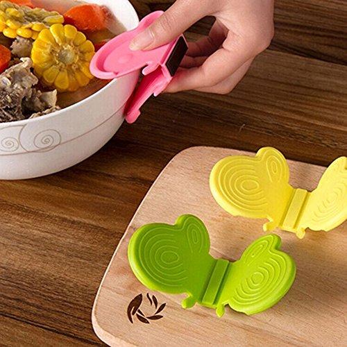 Baost 2Pcs Butterfly Shaped Silikon Wärmedämmung Anti Dank Teller Clamp Clip Kühlschrank Magnete Kochen Isolierte Handschuhe Mitt -