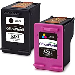 OfficeWorld Remanufacturados HP 62XL 62 Cartuchos de tinta 1 Negro y 1 Tricolor Compatible con HP Envy 5540 5544 5546 5640 5642 5644 7640 5646 5542, HP OfficeJet 200 5740 5742 5744 Impresora