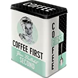 Nostalgic-Art 30146- Coffee First | Tarro L | | Café – Lata para | – Caja Metal L, multicolor, 10 x 14 x 20 cm