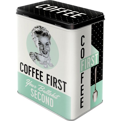 Nostalgic-Art 30146 Coffee First  | Vorratsdose L | Aufbewahrungs-Box | Kaffee-Dose | Blech-Dose |...