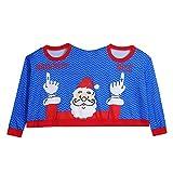 Riou 2018 Weihnachten Set Zwei Person Hässliche Pullover Weihnachts Paare Pullover Neuheit Mode Einzigartige PJS Sweatershirt Familie Pyjamas Outfits (L, Blau)