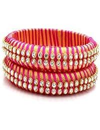 Lavanya Creations Silk Thread Bangle Set For Women (Size: 2.6, Lavanya Creations Silk Thread 1--2.6)