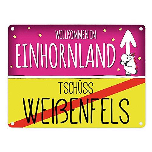 trendaffe - Willkommen im Einhornland - Tschüss Weißenfels Einhorn Metallschild
