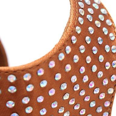 donna in pelle scamosciata con tacco alto sandali da danza latina Salsa Khaki