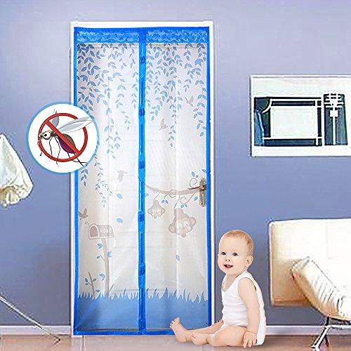 SPECOOL Puerta de mosquitera magnética, cortina de malla resistente para insectos con imanes potentes y velcro de cuadro completo, mantenga las fallas hacia fuera, permite la entrada de aire fresco(azul)