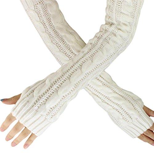 TUDUZ Unisex Winter Gestrickte Handgelenk Arm Handwärmer Strick Ärmel Hanfblumen Fingerlose Lange Handschuhe Fäustlinge für Damen Herren Weihnachten Geschenke (Weiß-A) (Weiße Arm-stulpen)