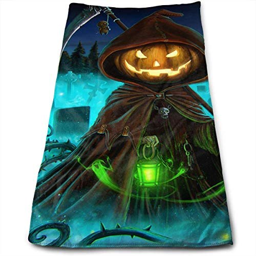 een Pumpkin Grim Reaper Face Hand Towels Microfiber Sport Towels for Sports, Hair Care, Cosmetology, Cleaning 27.5 X 12 Inch. ()