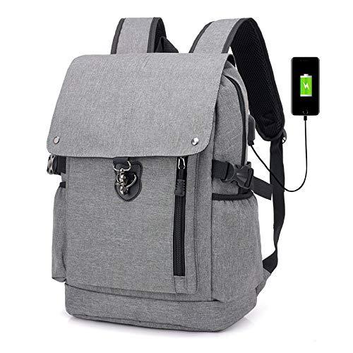 KHDJH Rucksack Männer Rucksack Für Telefon USB Aufladen Business Back Pack Reise Daypacks Für Männliche Große Kapazität Bagpack W grau