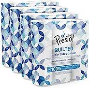 Marchio Amazon - Presto! Carta igienica trapuntata a 3 veli - Conf. da 36 rotoli (4 x 9x 200 strappi)- Motivo: