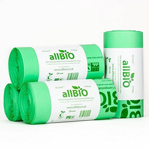 30 litri x 100 sacchetti allbio sacchetti pattumiera organico 100% biodegradabili e compostabili 30 litri/sacchetti contenitore rifiuti