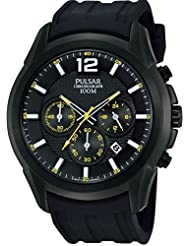 Pulsar Watches Men's All Black Chronograph Watch With Date Display