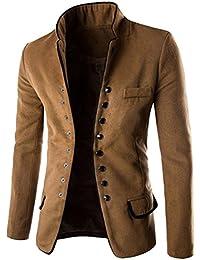 8c39a22cb50cc Brinny Homme Veste Blouson Col Debout Single-breasted Blazer Manteau en Laine  Slim Fit Coat