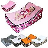 Monsieur Bébé ® Transat pouf bébé avec 2 poches de rangement, poignée de transport et 2 assises - 5 coloris - Norme NF EN12790