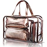 NiceEbag 5 In 1 Cosmetic Bag & Case Portable Carry On Travel Toiletry Bag Clear PVC Makeup Quart Luggage Pouch...