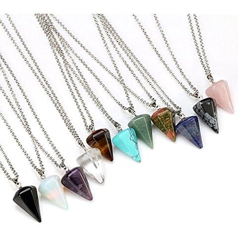 11Pieces Gemstone–Cono Cristal Cuarzo Chakra Healing piedra collar con colgante