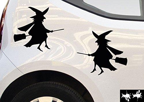 kleb-drauf® - 2 Hexen / Mint - glänzend - Aufkleber zur Dekoration von Autos, Motorrädern und allen anderen glatten Oberflächen im Außenbereich; aus 19 Farben wählbar; in matt oder glänzend (Halloween-innen-dekoration)